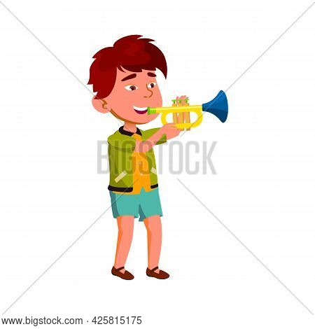 Boy Artist Playing On Trumpet In Orchestra Vector. Asian Child Play On Trumpet Musician Instrument I