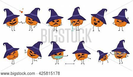 Set Of Pumpkin Character With Emotion, Fun And Sad Face, Arms And Legs. Happy Vegetable For The Holi