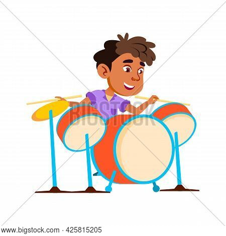 Boy Kid Playing Rock And Roll On Drum Kit Vector. African Child Play On Drum Musician Instrument Wit