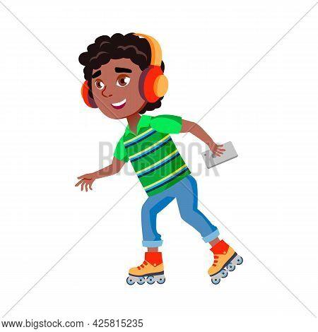 Boy Riding Roller Skates And Listen Music Vector. African Boy Ride Roller Skates And Listening Music