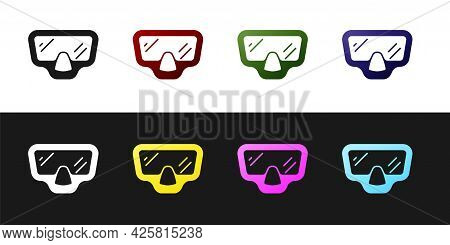 Set Diving Mask Icon Isolated On Black And White Background. Extreme Sport. Diving Underwater Equipm