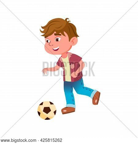 Boy Kid Playing Football Game On Stadium Vector. Caucasian Preteen Player Play Football Sport With B