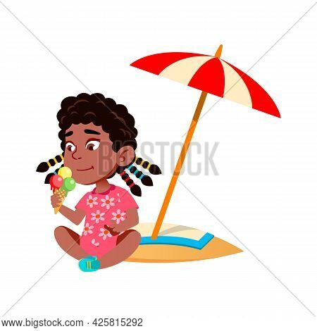 Girl Sitting On Beach And Eating Ice Cream Vector. African Preteen Child Lady Sit On Beach Sand And