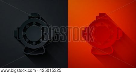 Paper Cut Aqualung Icon Isolated On Black And Red Background. Diving Helmet. Diving Underwater Equip