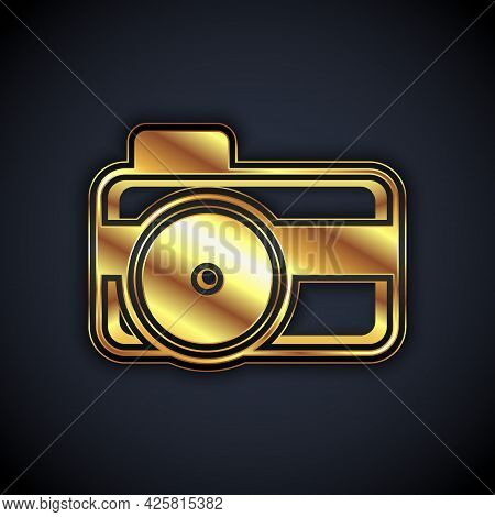 Gold Photo Camera For Diver Icon Isolated On Black Background. Foto Camera Icon. Diving Underwater E