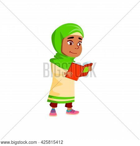 Girl Walking And Reading Educational Book Vector. Arabian Little Child Staying And Read Interesting