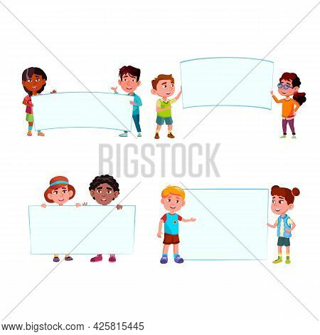 Kids Boys And Girls With Blank Banners Set Vector. Preteen Children Holding Banners. Smiling Happy C
