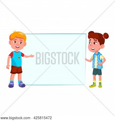 Boy And Girl Showing Blank Banner Together Vector. Caucasian Preteen Children Show Banner On Present