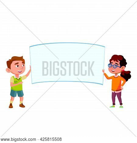Boy And Girl Children Holding Blank Poster Vector. Laughing Children Hold Poster On Painting Lesson