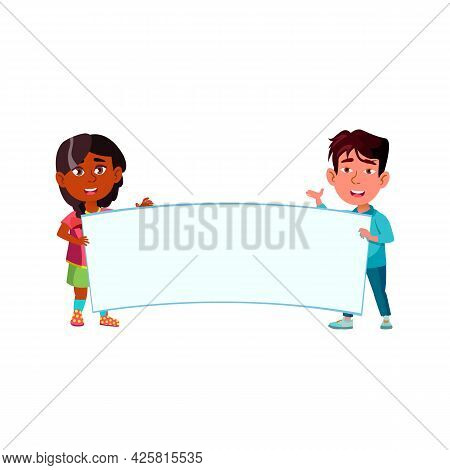 Children Holding Blank Poster Together Vector. Preteen Indian Girl And Asian Boy Kids Holding Poster