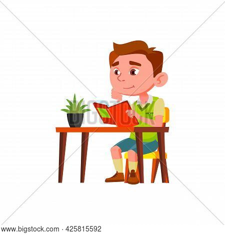Boy Child Reading Interesting Book At Table Vector. Caucasian Schoolboy Studying And Read Educationa