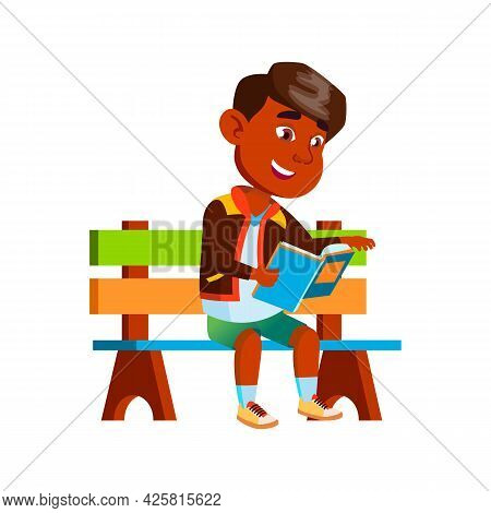 Boy Sitting On Park Bench And Reading Book Vector. Happiness Indian Schoolboy Read Interesting Book