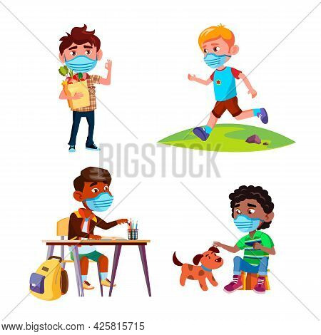 Boys Wearing Protective Facial Mask Set Vector. Boys Children With Facial Mask Studying In School An