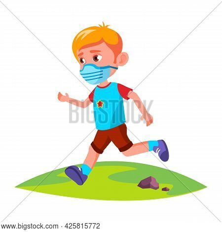 Boy Kid Wearing Facial Mask Running In Park Vector. Preteen Child Wear Protective Face Mask Run In N