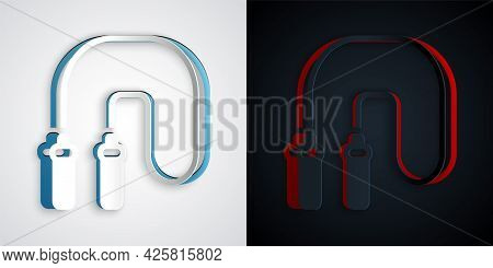 Paper Cut Jump Rope Icon Isolated On Grey And Black Background. Skipping Rope. Sport Equipment. Pape