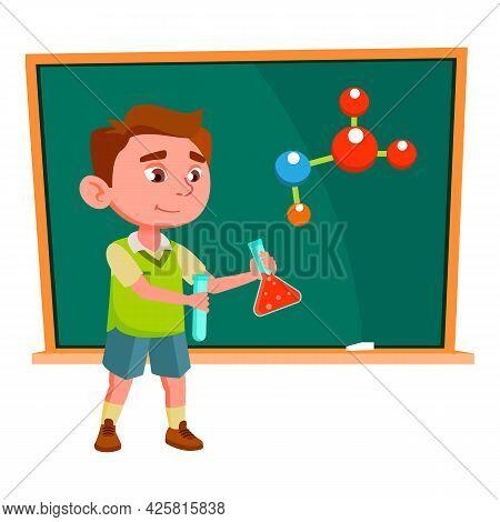 Boy Scientist Make Experiment On Lesson Vector. Caucasian Schoolboy Making Scientific Chemical Exper