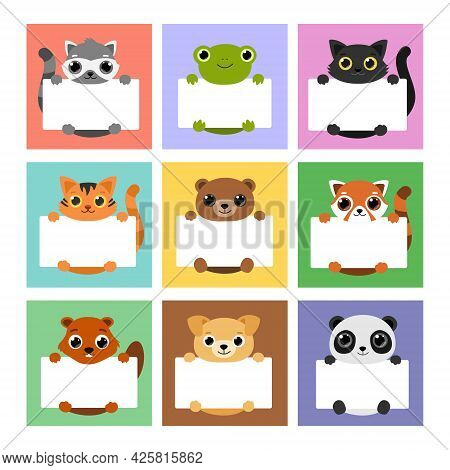 Set Cute Animals Holding Banners. Template For, Memo, Planner, To Do Listbook, Note, Notebook, Paper