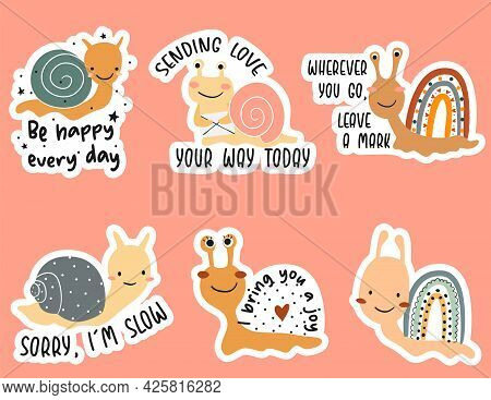 Cute Cartoon Snails Stickers With Quotes. Vector Illustration.