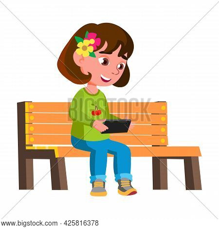 Girl Child Playing Video Game On Smartphone Vector. Smiling Caucasian Preteen Lady Sitting On Park B