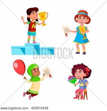 Girls Kids Winners Celebrate Victory Set Vector. Children Winners Standing On Pedestal And Holding C