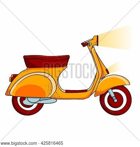 Vehicle. Yellow Scooter For Delivery Or City Travel. Cartoon Style.