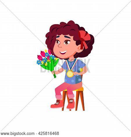 Girl Kid Winner With Medal And Flowers Vector. Happy Caucasian Schoolgirl With Golden Reward And Aro