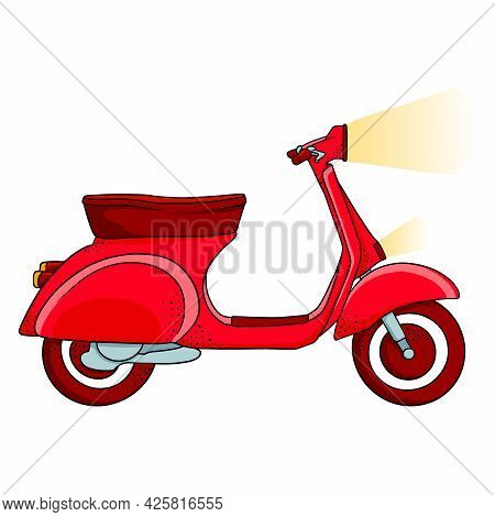 Vehicle. Red Scooter For Delivery Or City Travel. Cartoon Style.
