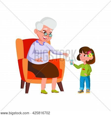 Girl Child Giving Water Cup To Grandmother Vector. Preteen Granddaughter Give Water Cup Elderly Woma