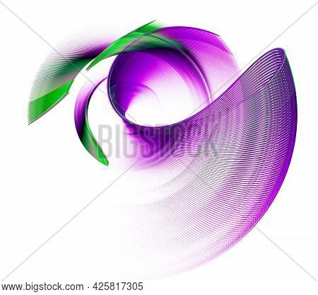 The Magenta Element Is Looped. The Green Elements Are Layered Above It. Dynamic Graphic Design Eleme
