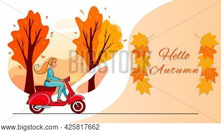 Hello Autumn Banner. Autumn Park Trees And A Blonde Girl On A Red Scooter.