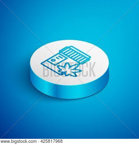 Isometric Line Medical Bottle With Marijuana Or Cannabis Leaf Icon Isolated On Blue Background. Mock