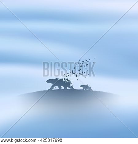 Bear Family, Flying Birds. Endangered Animal. Death And Afterlife