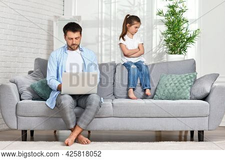 Offended Little Child Daughter And Father While He Working