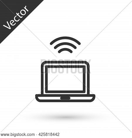 Grey Line Wireless Laptop Icon Isolated On White Background. Internet Of Things Concept With Wireles