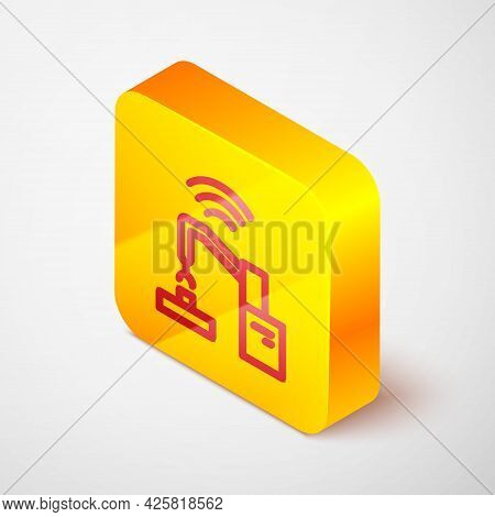 Isometric Line Industrial Machine Robotic Robot Arm Hand Factory Icon Isolated On Grey Background. I