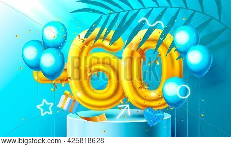 60 Off. Discount Creative Composition. 3d Golden Sale Symbol With Decorative Objects, Heart Shaped B