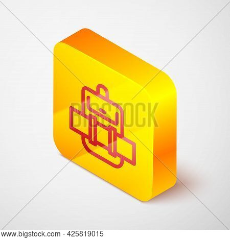 Isometric Line Hiking Backpack Icon Isolated On Grey Background. Camping And Mountain Exploring Back