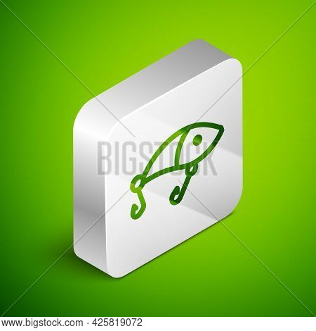 Isometric Line Fishing Lure Icon Isolated On Green Background. Fishing Tackle. Silver Square Button.