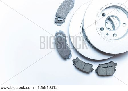 Car Motor Parts. Auto Motor Mechanic Spare Or Automotive Piece On White Background. New Metal Car Pa