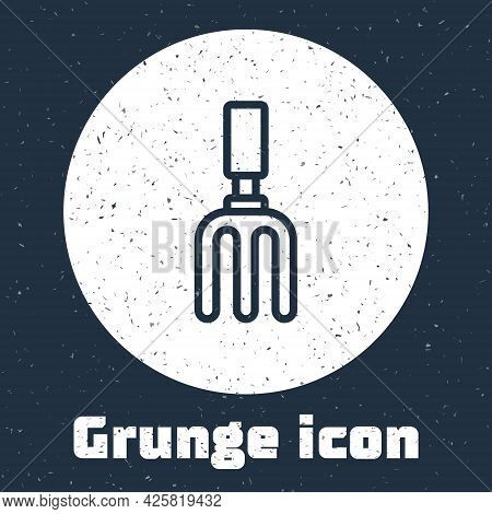 Grunge Line Garden Rake Icon Isolated On Grey Background. Tool For Horticulture, Agriculture, Farmin