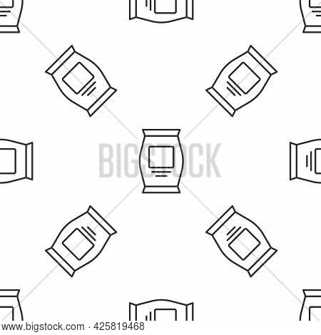 Grey Line Fertilizer Bag Icon Isolated Seamless Pattern On White Background. Vector