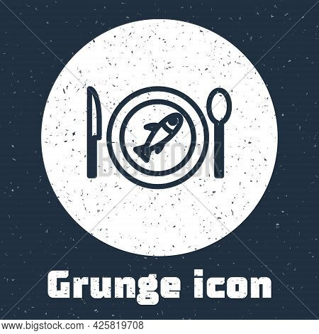 Grunge Line Served Fish On A Plate Icon Isolated On Grey Background. Monochrome Vintage Drawing. Vec