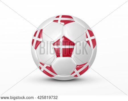 Soccer Ball With The Denmark National Flag Isolated On White Background. Denmark National Football T
