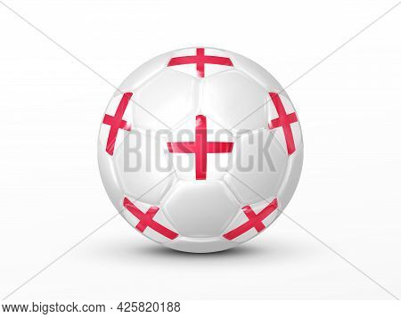 Soccer Ball With The England National Flag Isolated On White Background. England National Football T