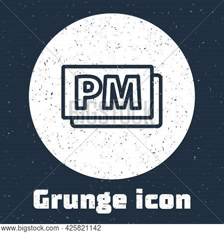 Grunge Line Clock Pm Icon Isolated On Grey Background. Time Symbol. Monochrome Vintage Drawing. Vect
