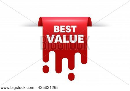 Best Value Text. Red Ribbon Tag Banner. Special Offer Sale Sign. Advertising Discounts Symbol. Best