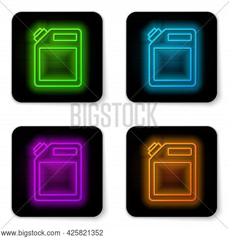 Glowing Neon Line Canister For Gasoline Icon Isolated On White Background. Diesel Gas Icon. Black Sq
