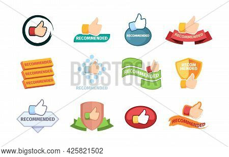 Promo Banners. Ads Symbols With Text Templates Recommended Words Branding Stamps Garish Vector Templ