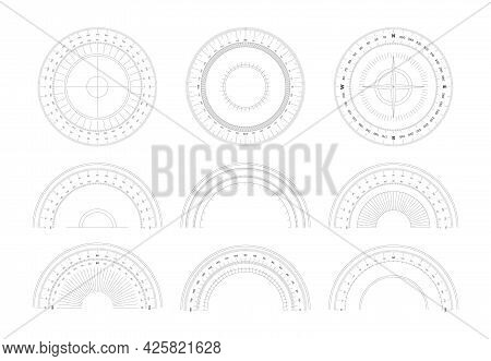 Protractor. 360 Degree Measurement Shapes With Numbers And Symbols Circular Shapes Of Scale Goniomet