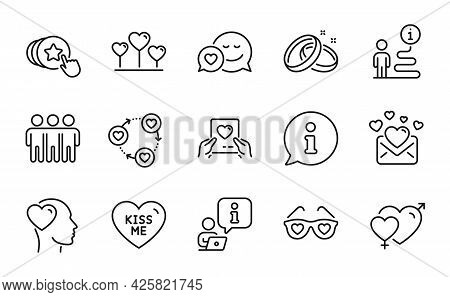 Love Icons Set. Included Icon As Dating, Hold Heart, Kiss Me Signs. Male Female, Love Heart, Friends